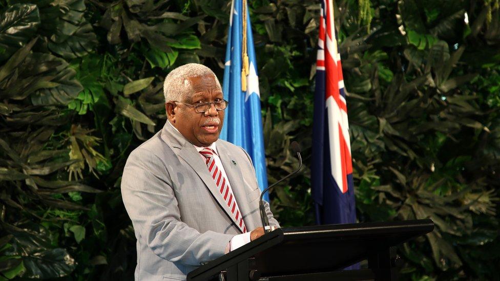 Solomon Islands leader Rick Houenipwela speaks in New Zealand in June