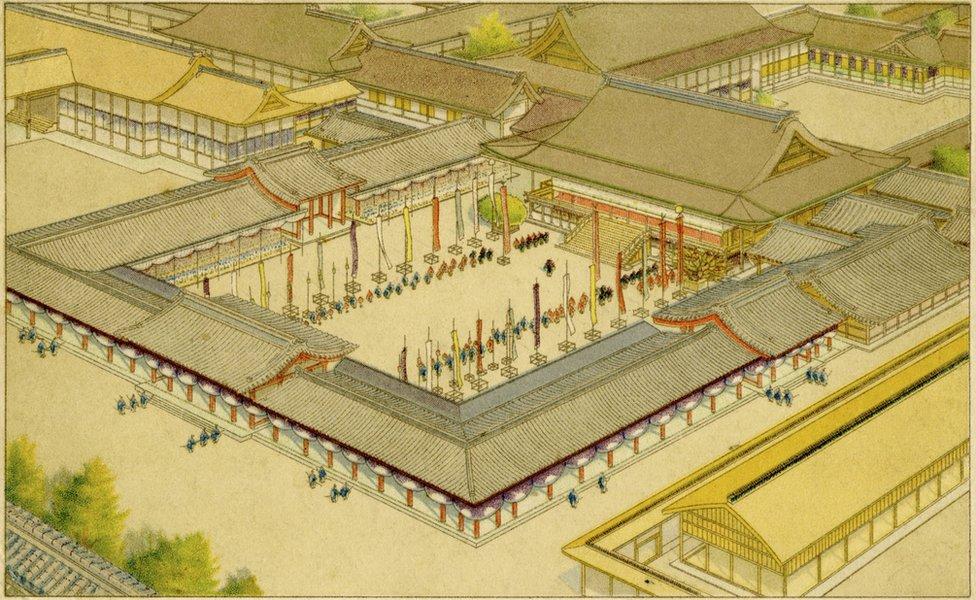 Ilustrasi penobatan Kaisar Taisho di Kyoto pada 1912.