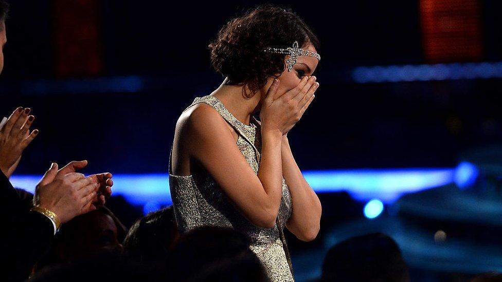 """Gaby Moreno cuando ganó el Grammy Latino como """"Mejor Artista Nueva"""" en 2013."""