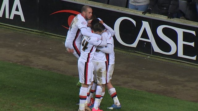 Ben Reeves celebrates his goal for MK Dons
