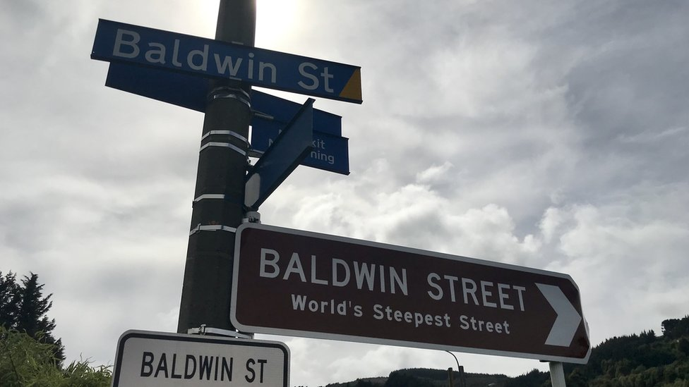 Signs on Baldwin Street, Dunedin