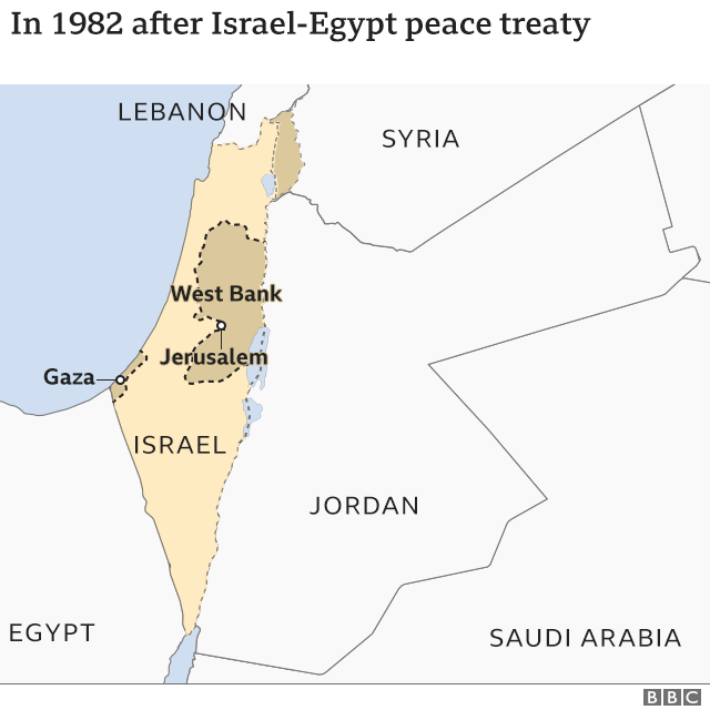Map of region after 1982 Israel-Egypt peace treaty