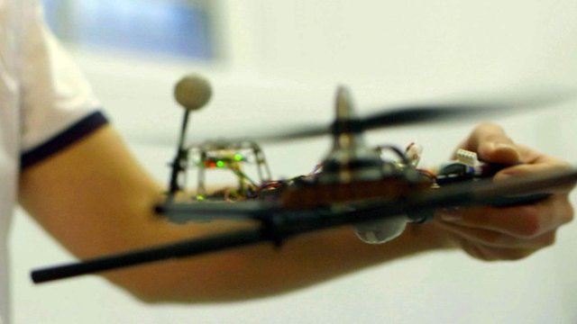 A drone with one propeller built by Verity Studios