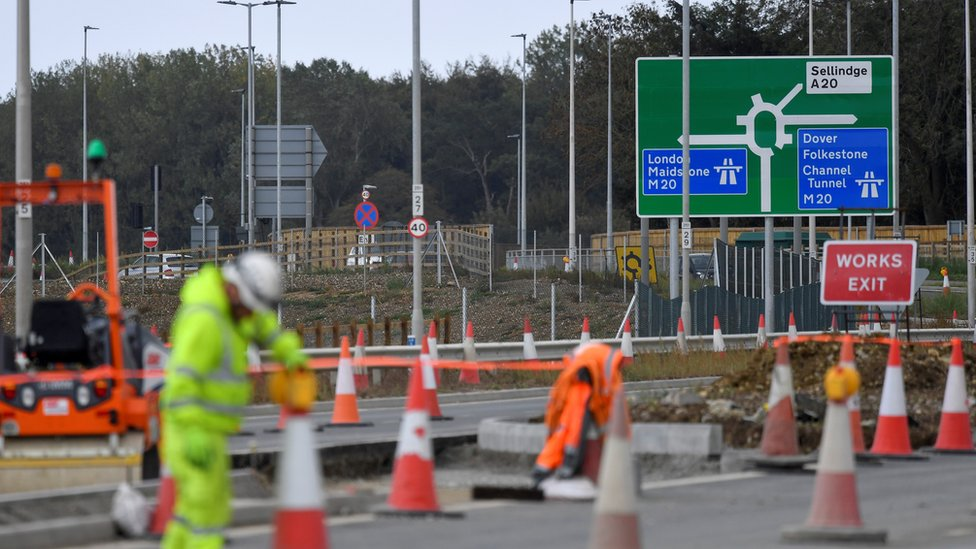 Work on a lorry park near the M20 in Kent