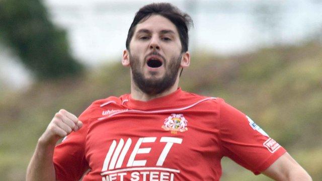 Portadown's Sean Mackle celebrates his goal against Ballymena United at Shamrock Park