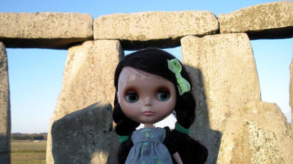 Blythe doll at Stonehenge