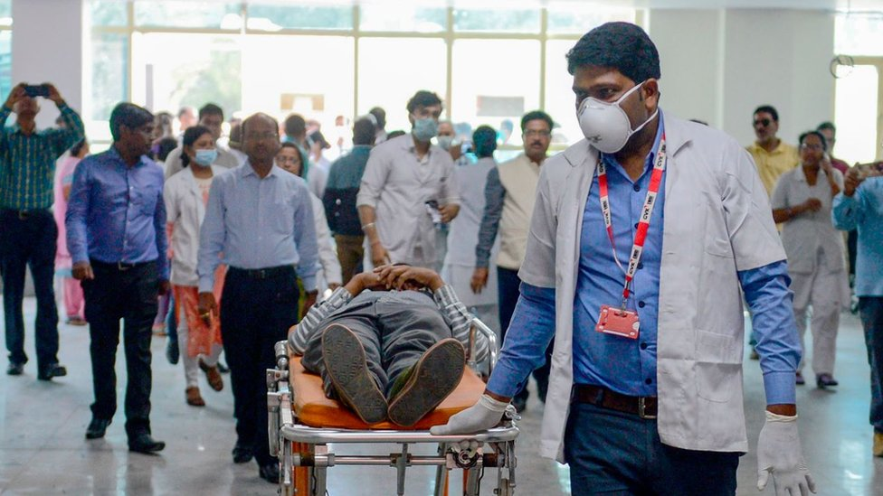 Health department officials and doctors participate in a mock drill amid concerns over the spread of the Covid-19 in Allahabad, India
