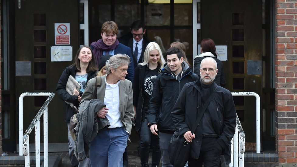 Jordi Casamitjana (front right) leaves an Employment Tribunal in Norwich after it ruled that ethical veganism is a philosophical belief and is therefore protected by law