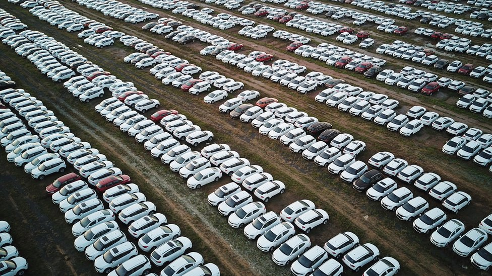New cars lined up at a factory near the Chinese city of Shenyang