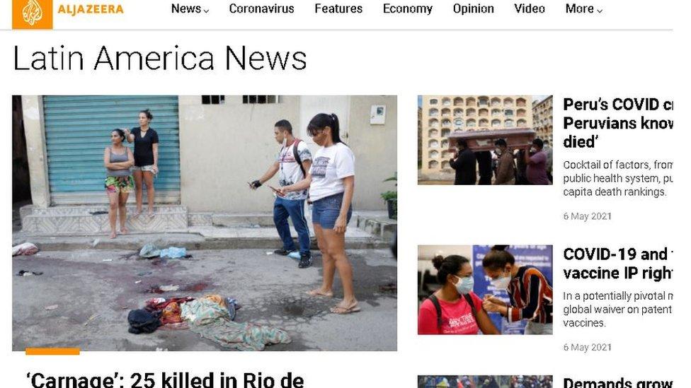 Reprodução do site da Al Jazeera