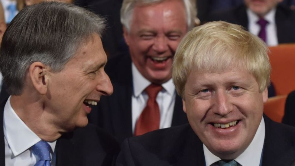 Chancellor Philip Hammond and then foreign secretary Boris Johnson at the Conservative Party conference in 2016