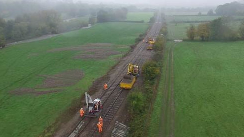 Repair work to the Abergavenny to Hereford railway line