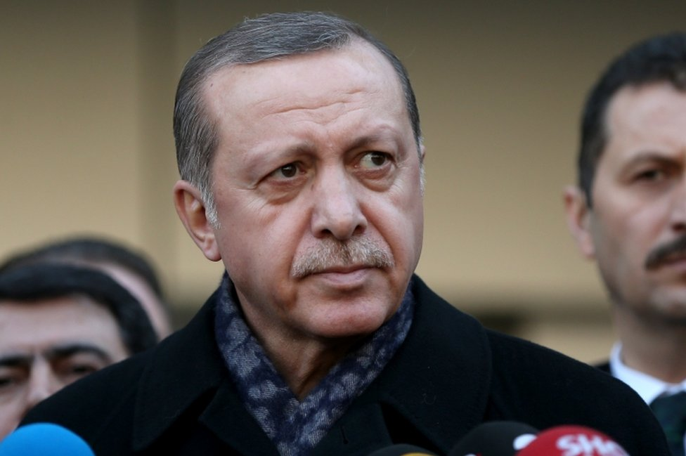 Turkish President Recep Tayyip Erdogan speaks to press after visiting police officers wounded in the bomb attacks at Haseki Hospital in Istanbul on 11 December, 2016.