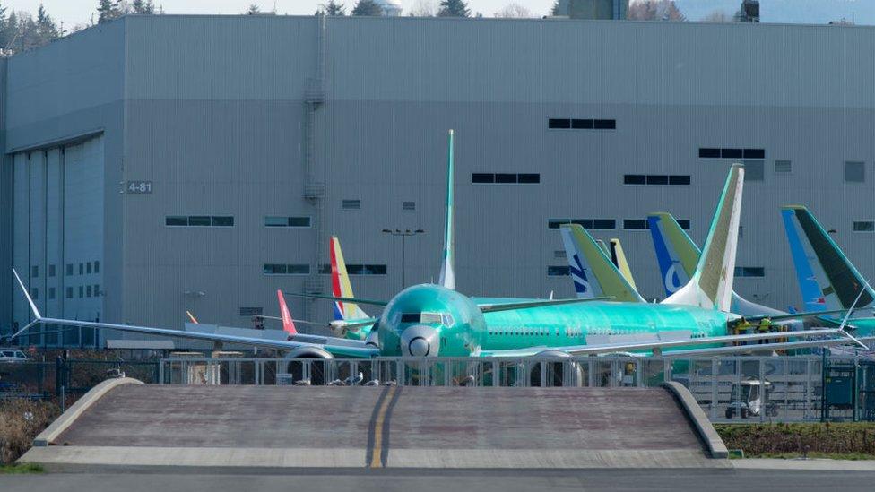 Pesawat Boeing 737 MAX 8 di luar pabrik.