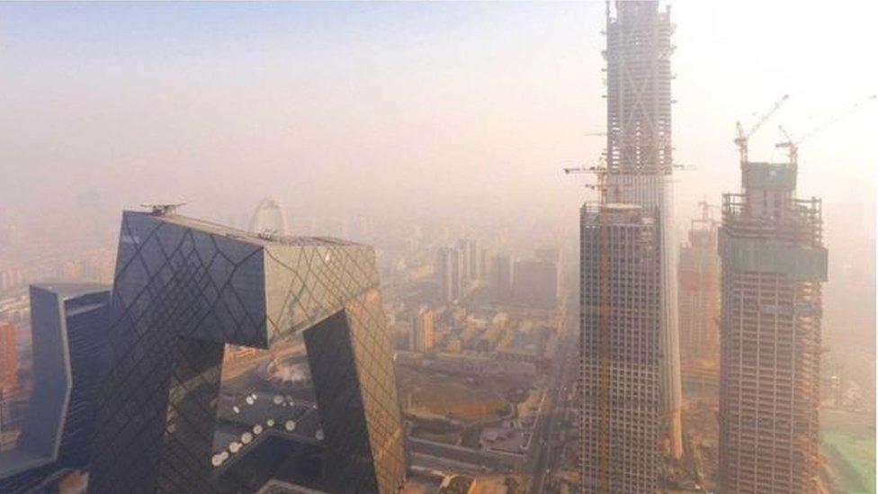 مشهد لتلوث الهواء في مدينة