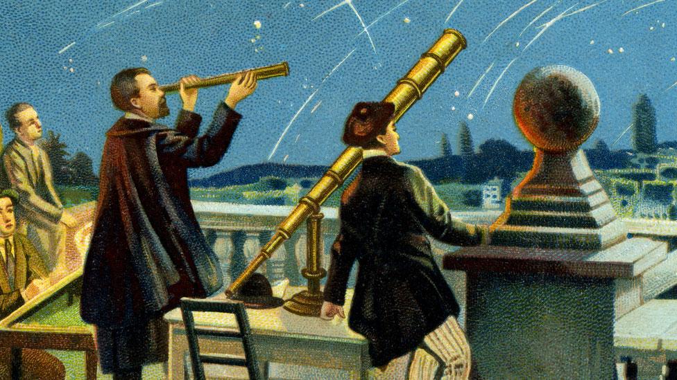 Una pintura que muestra a Giovanni Schiaparelli con su telescopio.