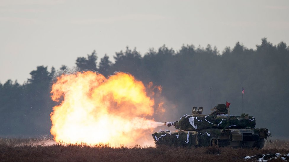 A tank fires during joint exercises of Polish and US troop