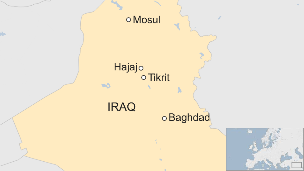 Map showing Hajaj and Tikrit in Iraq