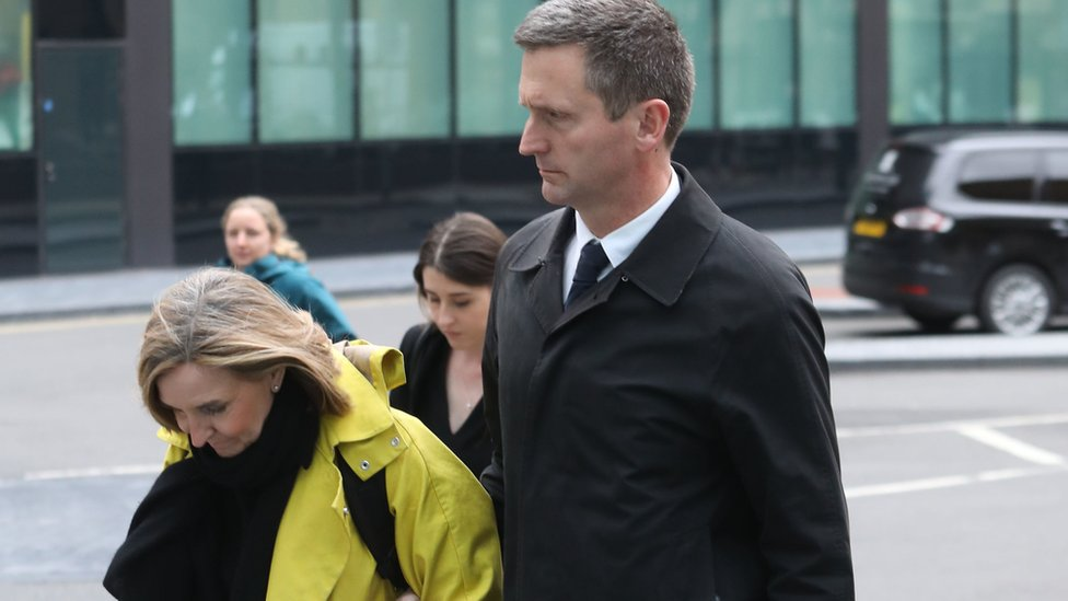 Lord Holmes of Richmond leaves Southwark Crown Court, in London