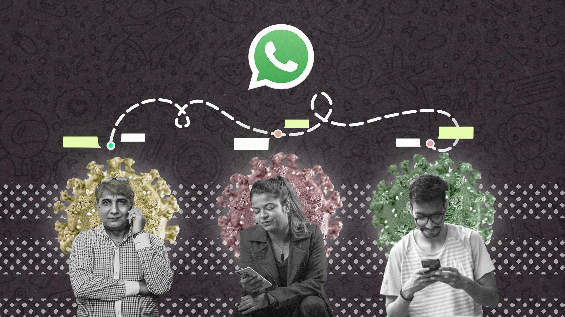 Ilustración de tres personas mirando sus teléfonos con un símbolo de WhatsApp encima de ellos.