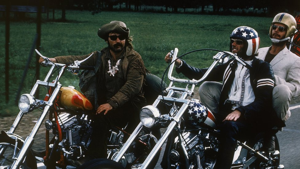 Fonda, Jack Nicholson and Dennis Hopper on bikes in a still from the 1969 cult classic Easy Rider