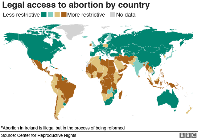 Map: Legal access to abortion by country