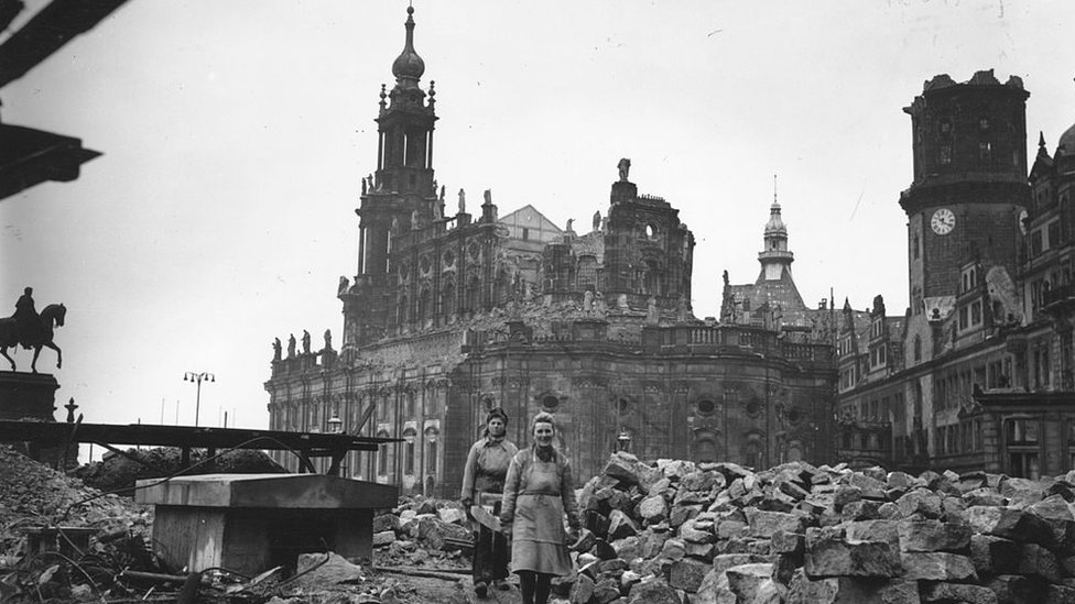 A shot of Dresden in 1946 showing the effect of the bombing