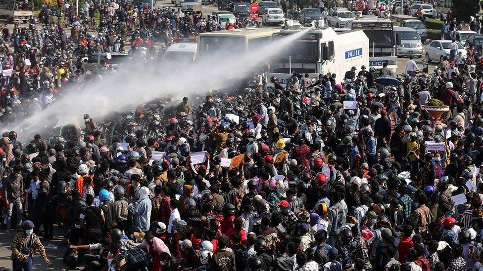 demonstrasi di Myanmar