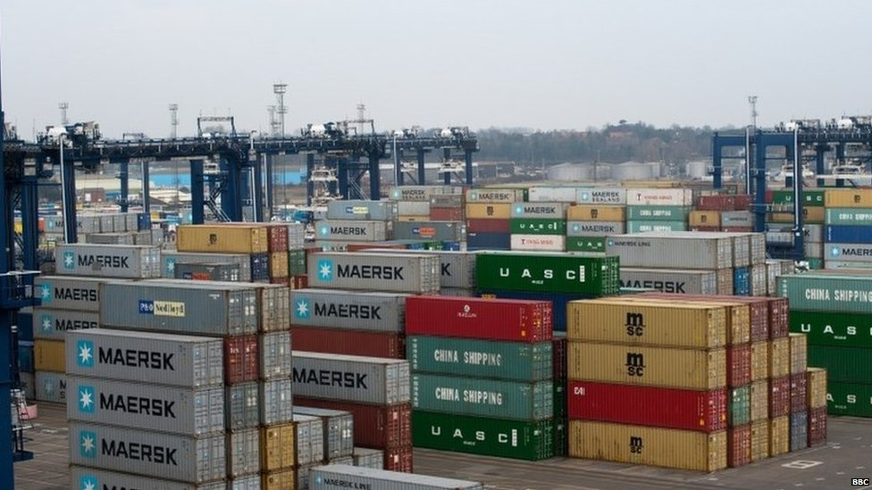 Containers waiting to be shipped out of the port of Felixstowe