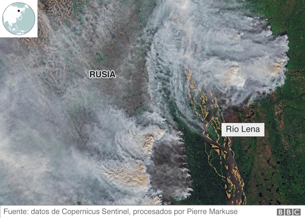 Imagen satelital de los incendios en Siberia