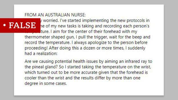 منشور مضلل ينقل عن ممرضة استرالية قولها إن أجهزة قياس درجة الحرارة بالأشعة تحت الحمراء قد تسبب ضررا في الدماغ