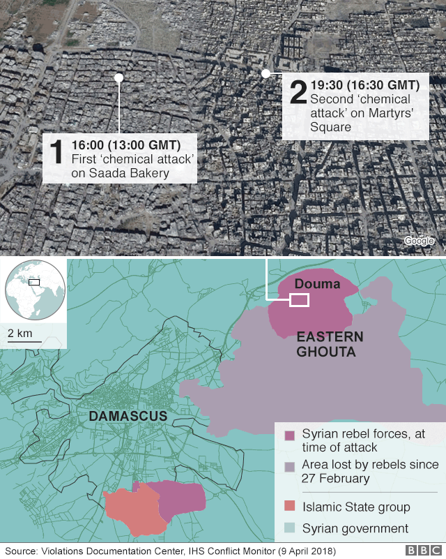 Map showing the locations of the alleged chemical attacks on Douma, Eastern Ghouta, Syria