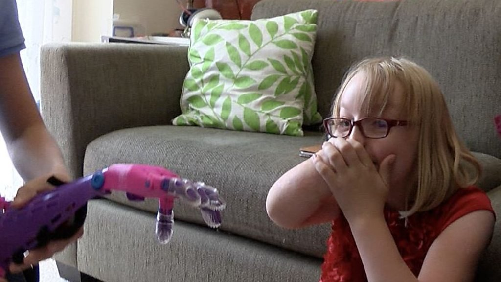 The moment girl, 8, gets new 3D printed arm