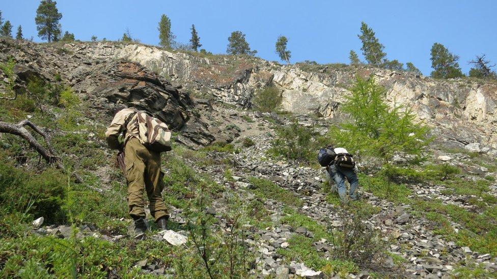 Investigadores en Siberia, Rusia.