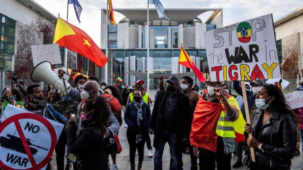 Manifestación a favor de la paz en Alemania.