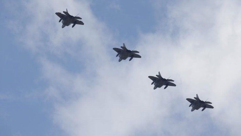 Four F-22 (Raptor) of the USA Air Force, fly over Osan Air Base in Pyeongtaek, South Korea