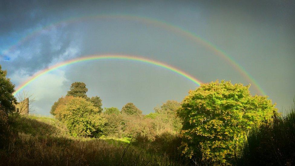 Aileen McLuckie from Edinburgh spotted a double rainbow over Mavisbank Doocot, Lasswade.