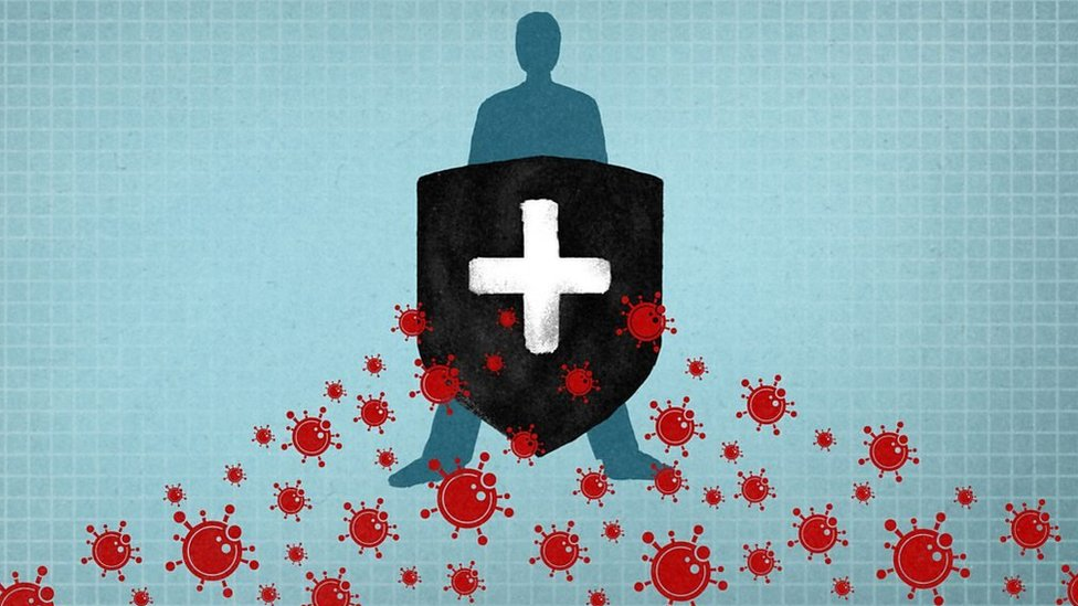 Illustration immunity against coronavirus.