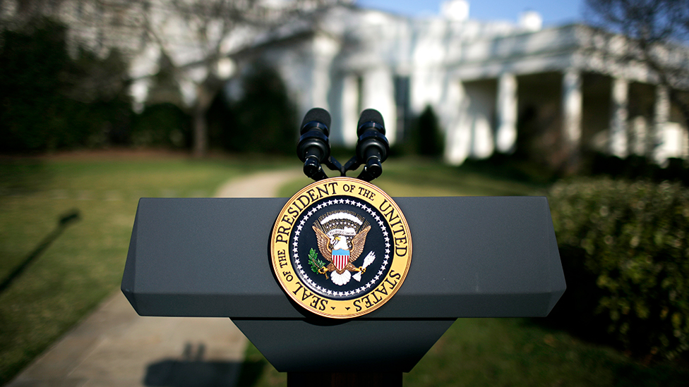 Photo: The presidential podium outside the White House