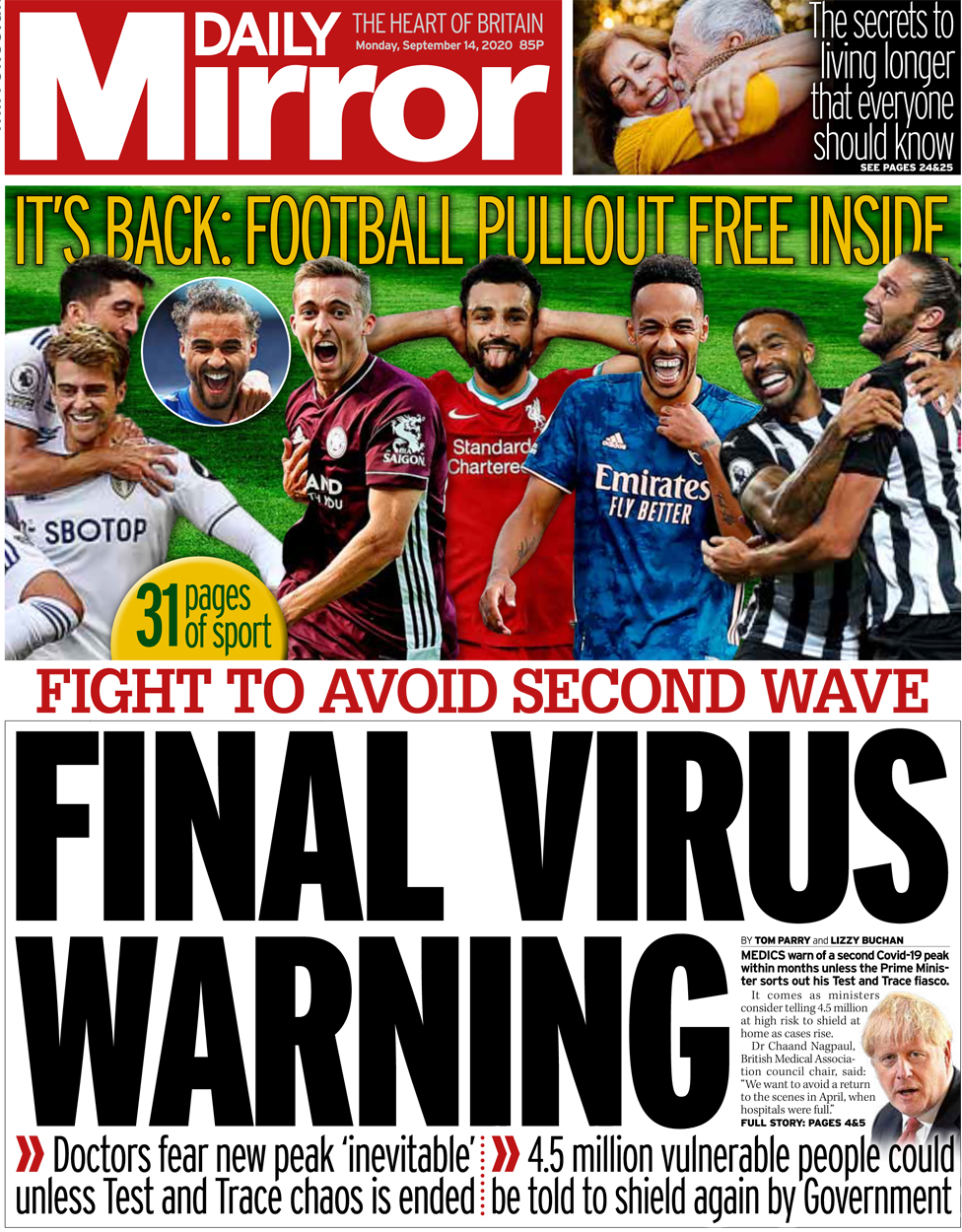 Daily Mirror front page 14 September
