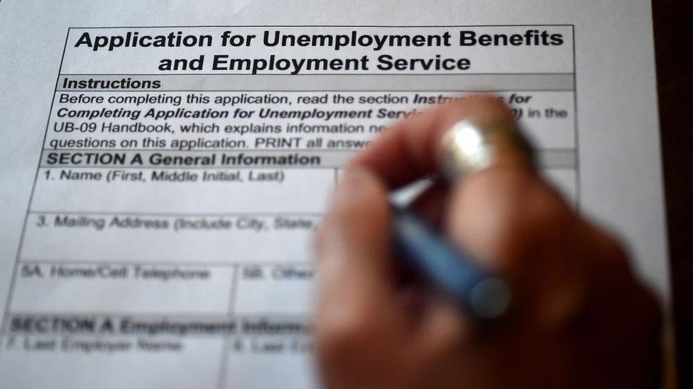 Aplicación para solicitud del pedido de desempleo en Estados Unidos.