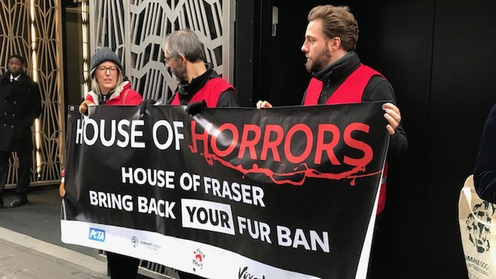 Animal rights protesters campaigning outside the Sports Direct shareholder meeting
