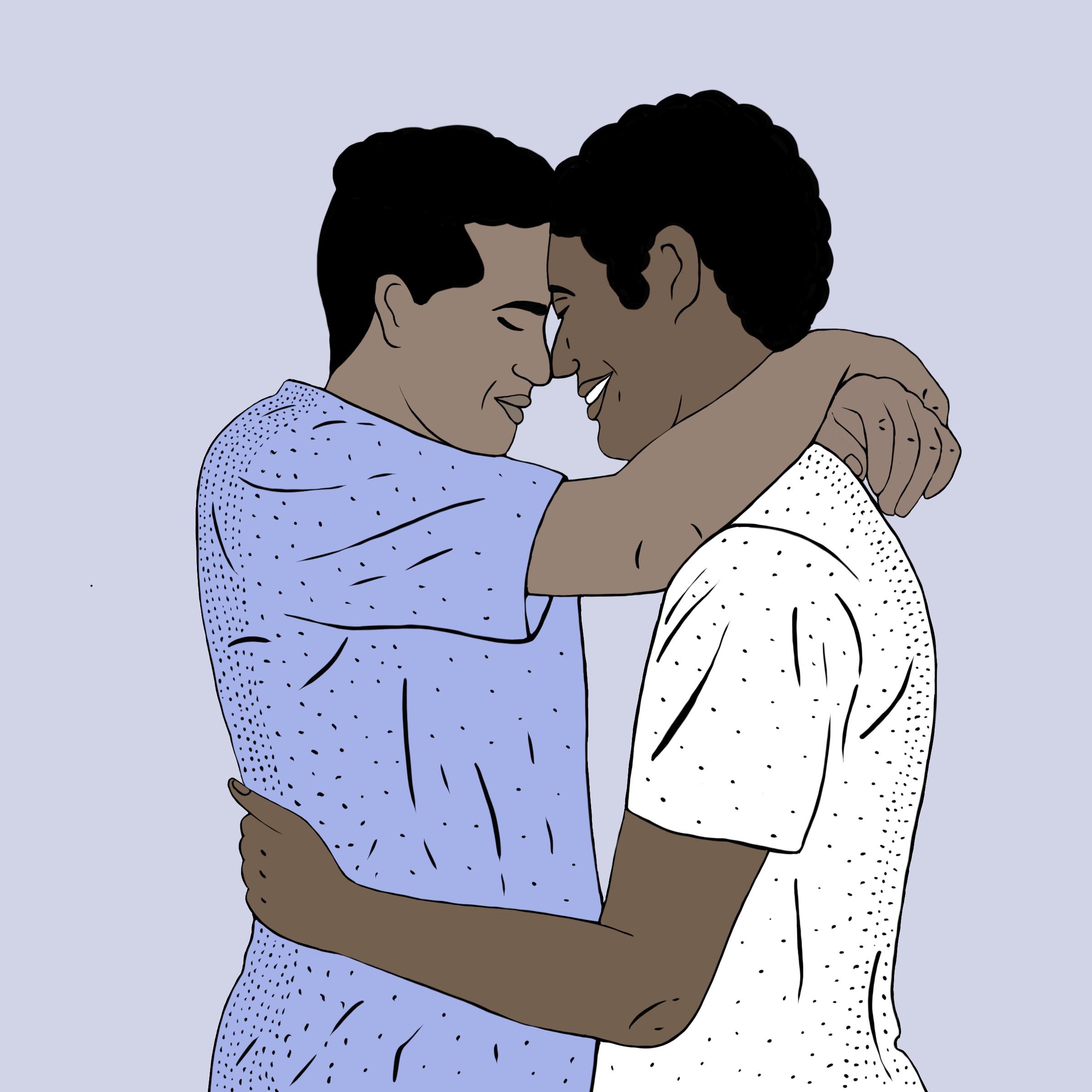 Dos hombres abrazándose.