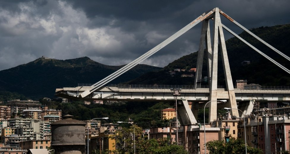 A picture shows the collapsed Morandi motorway bridge in Genoa on 2 September, 2018.