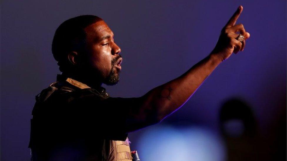 Kanye West en su mitin de Carolina del Sur