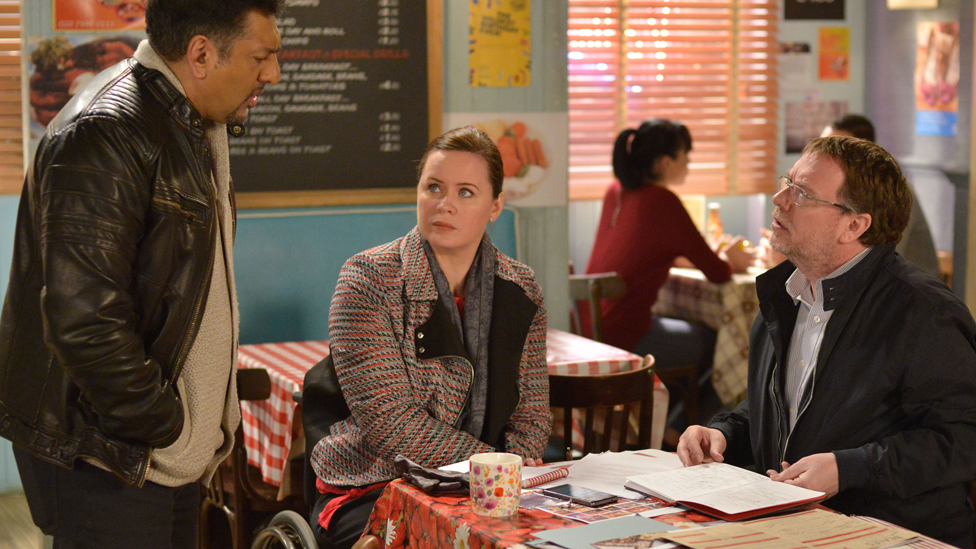 Shannon Murray, who is one of VisAble's clients, playing Sarah-Jane in EastEnders