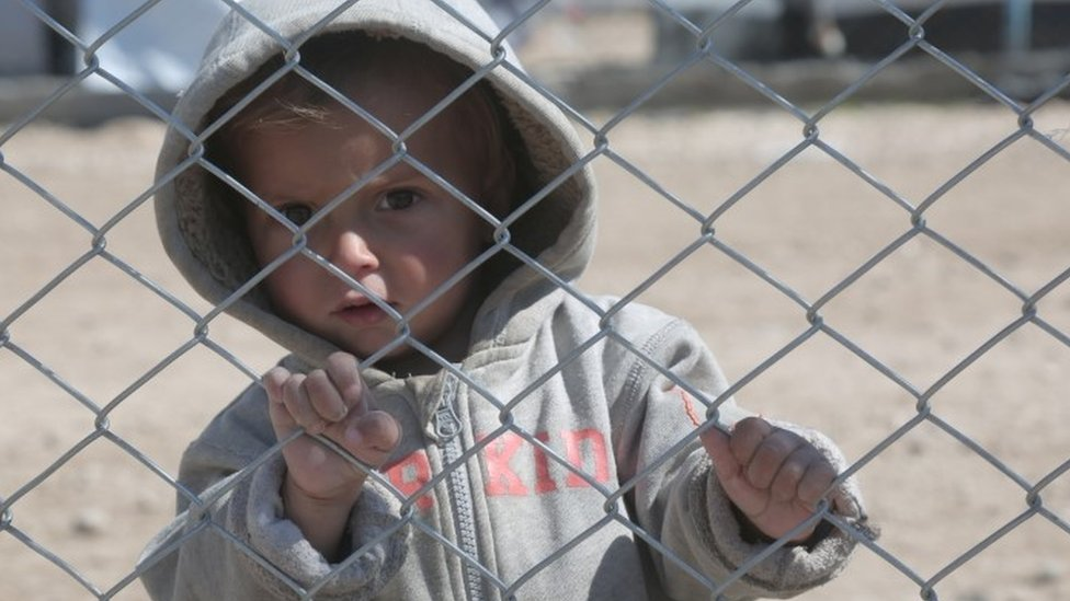 A child at al-Hol displacement camp in Hasaka governorate, Syria