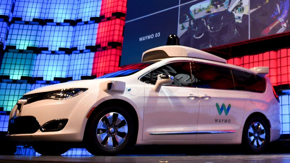 A Waymo car on stage at the 2017 Web Summit in Lisbon on November 7, 2017.