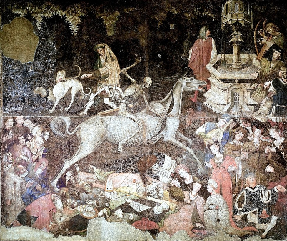 The Triumph of Death (about 1446) by unknown artist, is at the Palazzo Abatellis in Palermo