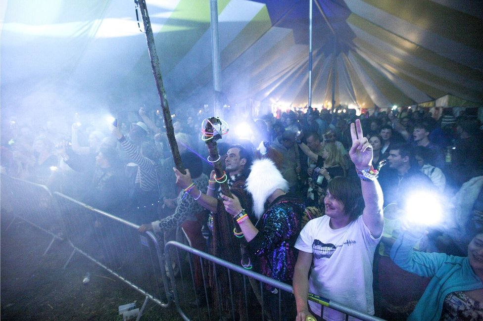 Revellers at the main stage show their appreciation for Future Dub Orchestra.